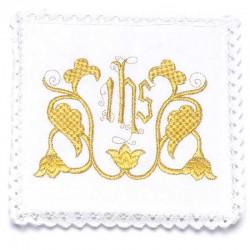 Servizio da Messa Ihs dorato in puro lino
