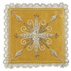 Palla Croce argento ricamo a mano su pura seta