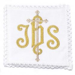 Servizio da Messa Ihs con Croce in puro lino