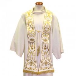 Stola Romana in seta con punti luce ricamo Croce