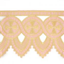Bordo per altare Rosa ornato croci ad intaglio 25 cm