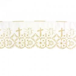 Bordo per altare sangallo bianco lamé oro 22 cm