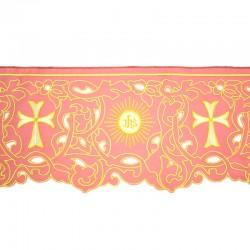 Bordo per altare rosa ricamo croce, IHS con intagli 22 cm