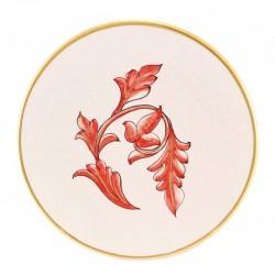 Patena in ceramica con decori rossi Diametro 16 cm