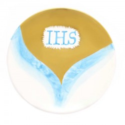 Patena in ceramica con IHS Diametro 16 cm
