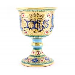 Calice in ceramica stile bizantino con IHS 15 cm