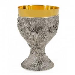Calice in fusione a cera persa Foglie e Uva 16 cm