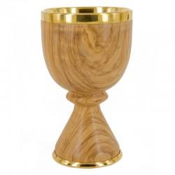 Calice legno di ulivo coppa metallo 16 cm