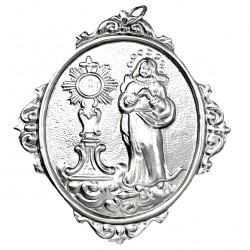 Confraternity Medallion Immaculate and Monstrance 12x14 cm