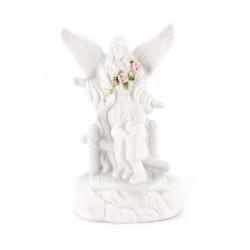 Statua Angelo Custode in ceramica bianca 11 cm