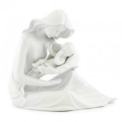 Statua Maternità in porcellana bianca 24 cm