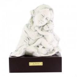 Busto Madonna con Bambino porcellana base legno 23 cm
