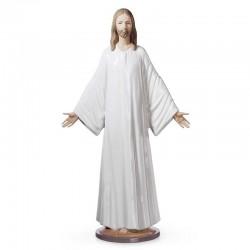 Statua Gesù accogliente in porcellana lucida 38 cm Lladrò