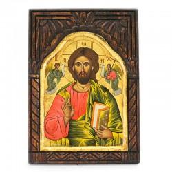 Icona Cristo dipinta a mano su legno inciso fondo oro 33x45 cm