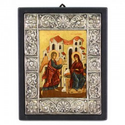 Icona Annunciazione dipinta cornice argento 950° 22x28 cm