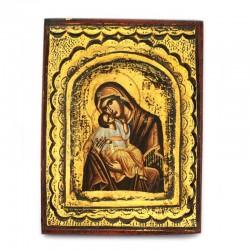Icona dipinta Madonna con Bambino-A 14x18 cm