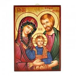 Icona Sacra Famiglia-E dipinta a mano 10x14 cm