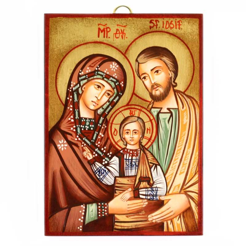 Icona Sacra Famiglia A Dipinta A Mano 10x14 Cm