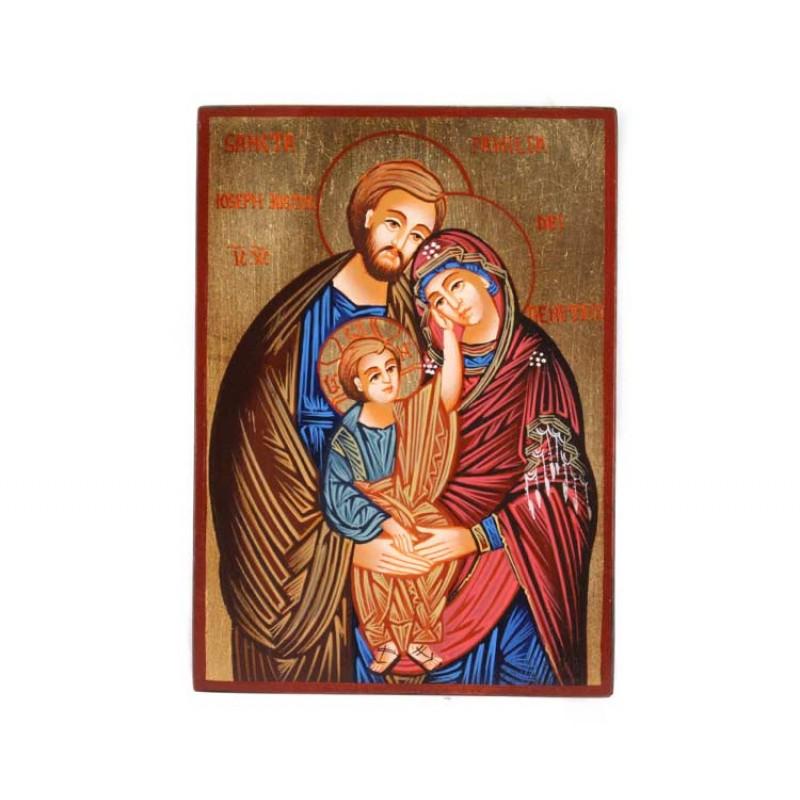 Icona Sacra Famiglia B Dipinta A Mano 10x14 Cm