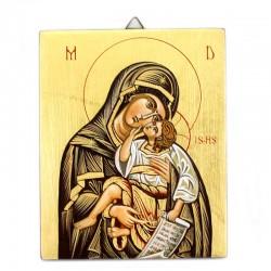 Icona dipinta Madonna con Bambino 13x16 cm