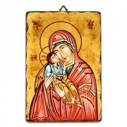 Icona Madonna con Bambino dipinta a mano 22x32 cm