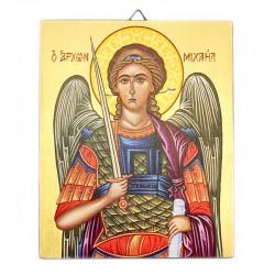 Icona Arcangelo Michele dipinta a mano 13x16 cm