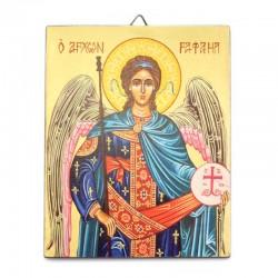 Icona Arcangelo Raffaele dipinta a mano 13x16 cm