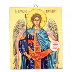Icona Arcangelo Raffaele dipinta a mano 16x19 cm