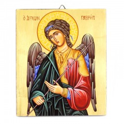 Icona Arcangelo Gabriele dipinta a mano 16x19 cm