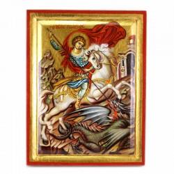 Icona San Giorgio dipinta a mano con fondo oro 24x31 cm