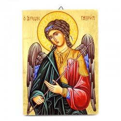 Icona Arcangelo Gabriele dipinta a mano con fondo oro 19x26 cm