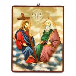 Icona Santissima Trinità dipinta a mano 26x33 cm