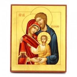 Icona russa Sacra Famiglia dipinta a mano 26x31 cm