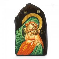 Icona Madonna con Bambino a rilievo dipinta 26x46 cm