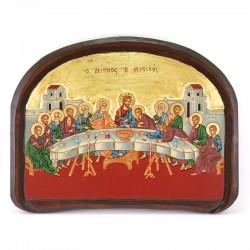 Icona greca bassorilievo Ultima cena 35x45 cm