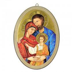 Icona Sacra Famiglia ovale fondo dorato 20x28 cm