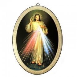 Quadro Gesù Misericordioso ovale stampa su legno 20x28 cm