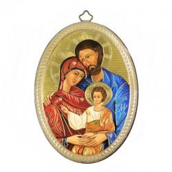 Quadretto ovale Sacra Famiglia stampa su legno 10x15 cm