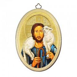 Quadretto ovale Gesù Buon Pastore stampa su legno 10x15 cm