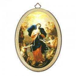 Quadretto ovale Maria che scioglie i Nodi stampa su legno 10x15 cm