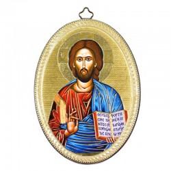 Quadretto ovale Cristo libro aperto stampa su legno 10x15 cm