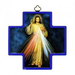 Quadretto Croce Gesù Misericordioso stampa su legno 12x12 cm