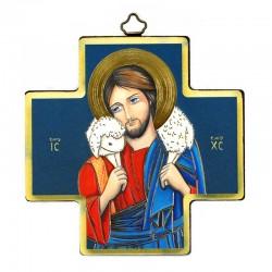Quadretto Croce Gesù Buon Pastore stampa su legno 12x12 cm