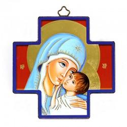 Quadretto Croce Madonna con Bambino stampa su legno 12x12 cm