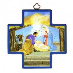 Quadretto Croce Natività stampa su legno 12x12 cm