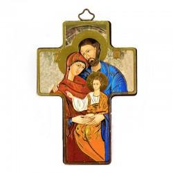 Quadretto Croce Sacra Famiglia stampa su legno 9x13 cm