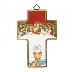 Quadretto Croce Ultima Cena con Calice stampa su legno 9x13 cm