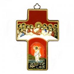 Quadretto Croce Ultima Cena con Risorto stampa su legno 9x13 cm