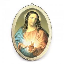 Quadro Sacro Cuore ovale stampa su legno 20x28 cm