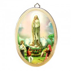 Quadretto ovale Madonna di Fatima stampa su legno 10x15 cm